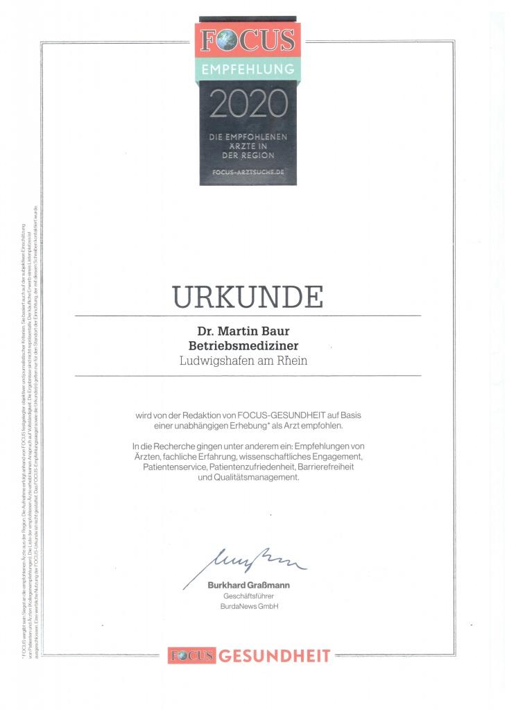 Fokus Urkunde Betriebsmedizin 2020