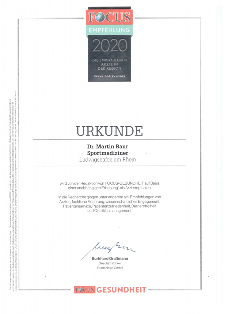 Fokus Urkunde Sportmedizin 2020
